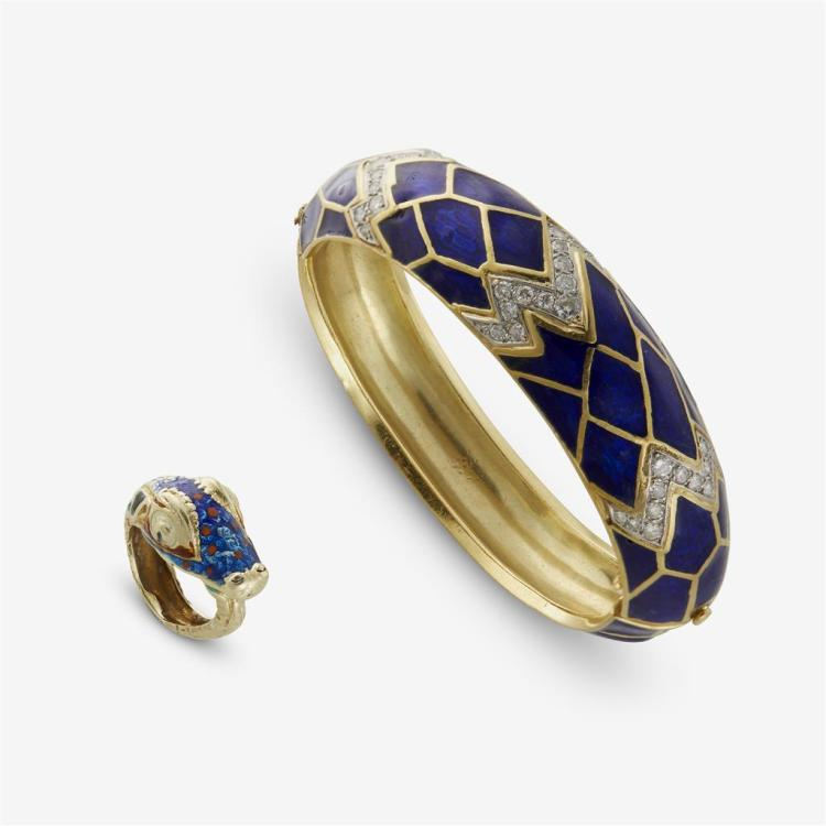 An enamel ring and bangle bracelet,