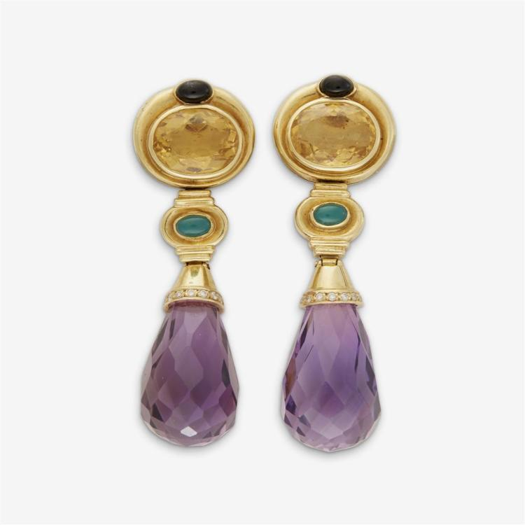 A pair of gem-set and eighteen karat gold earrings,