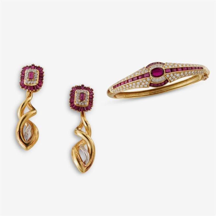 A pair of ruby, diamond and eighteen karat gold earrings and bracelet,