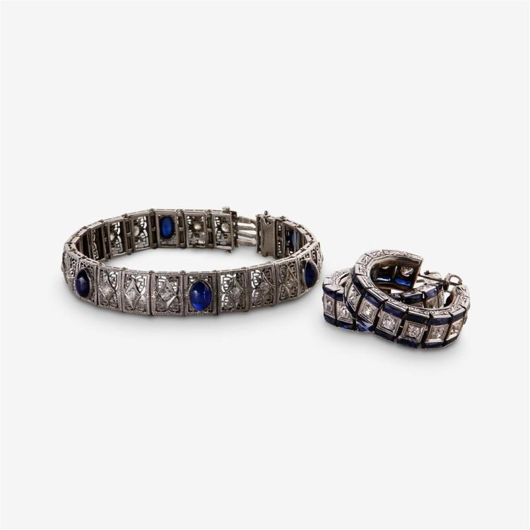 A pair of diamond, synthetic sapphire and white gold earrings and bracelet,