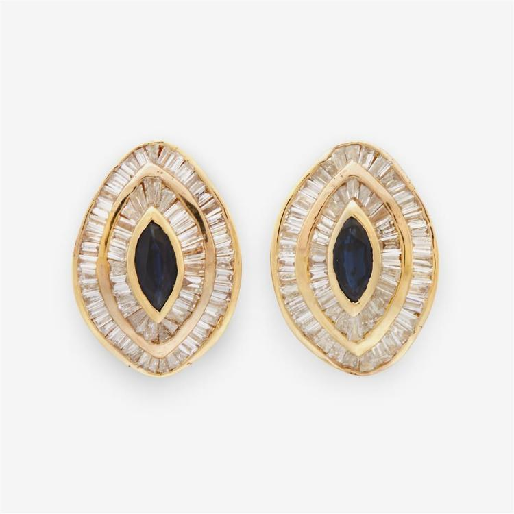 A pair of diamond, sapphire and fourteen karat gold earrings,