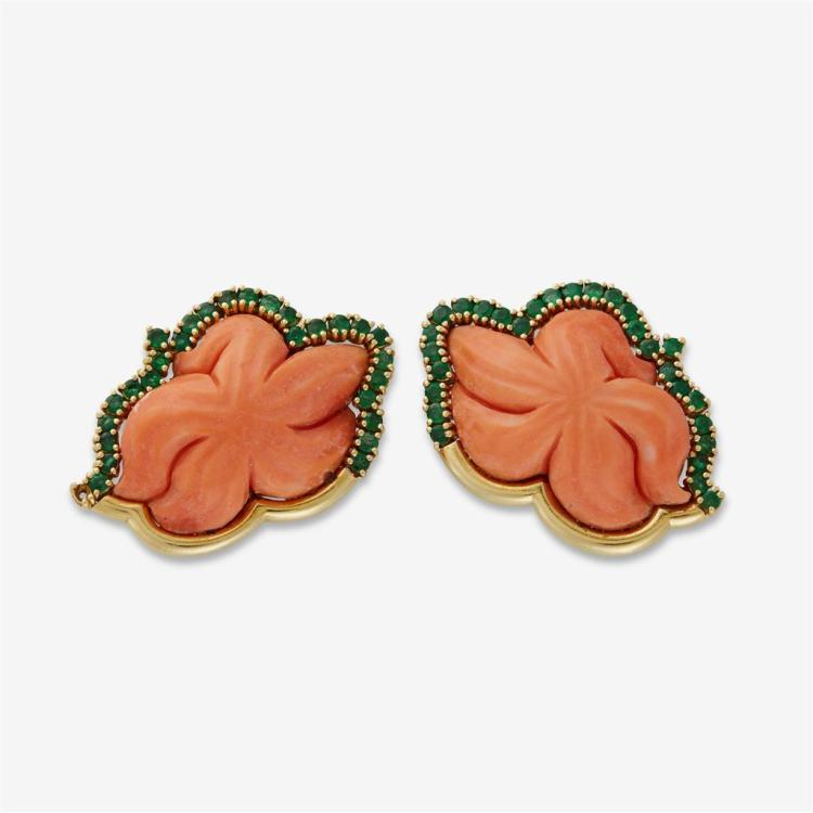 A pair of emerald, coral and eighteen karat gold earrings,