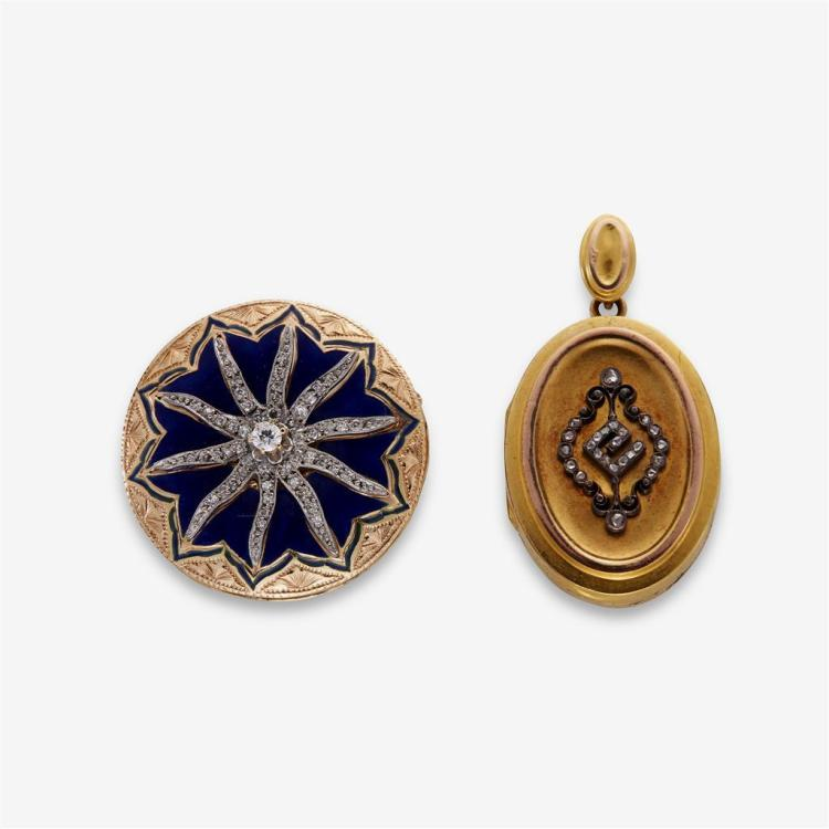 A collection of two enamel, diamond, silver and gold pendants,
