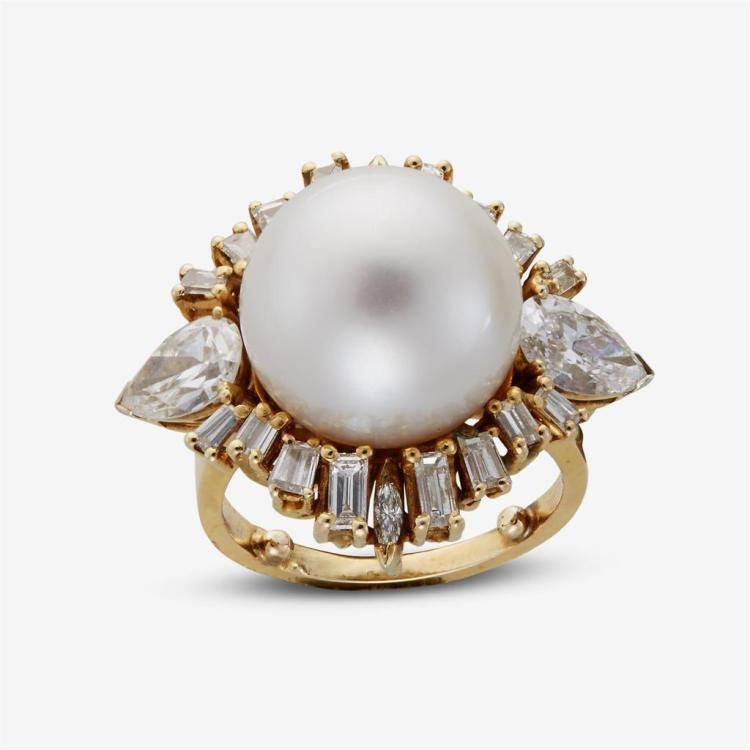 A South Sea cultured pearl, diamond and fourteen karat gold ring,