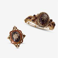 A gemstone, enamel, diamond, seed pearl and fourteen karat gold bangle and brooch,