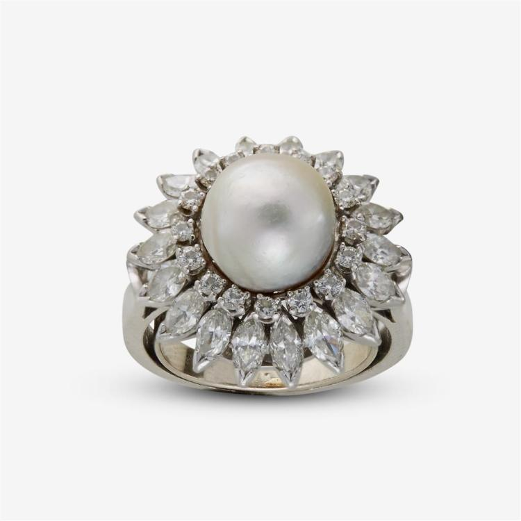 A South Sea cultured pearl, diamond and platinum ring,