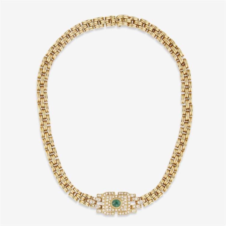 An emerald, diamond and eighteen karat gold necklace,