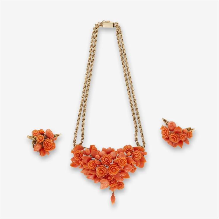 A coral and fourteen karat gold necklace and earrings,