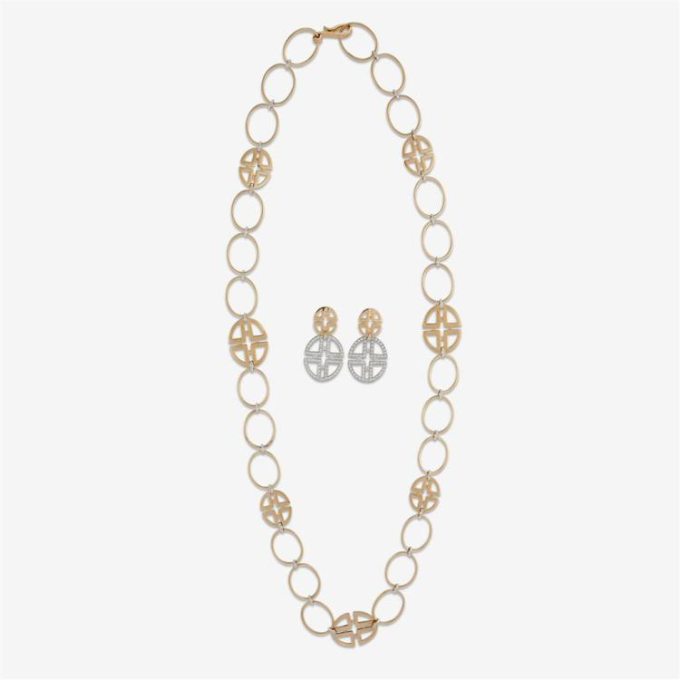 A diamond and eighteen karat gold necklace and earrings, Mattioli,