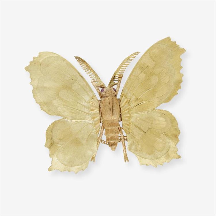 An eighteen karat two tone clip/brooch, Buccellati,