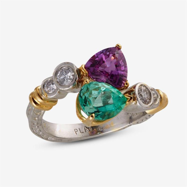A pink sapphire, emerald, diamond, platinum and eighteen karat gold ring,