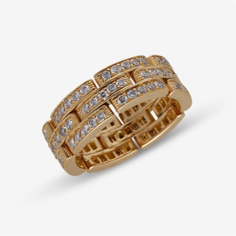 A diamond and eighteen karat gold band, Cartier,