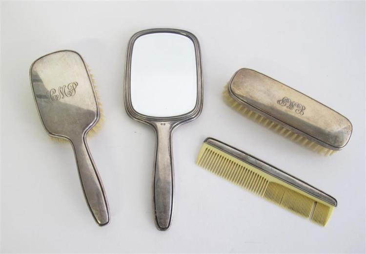 A Continental silver gentleman''s vanity set,