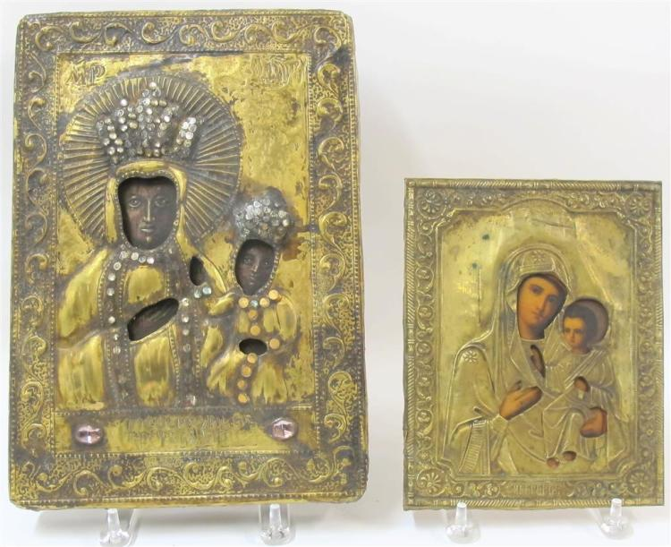 A large Greek Virgin and Child gilt metal icon with oklad, 19th century