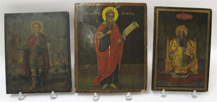 Three Greek icons of male saints, 18th/19th century