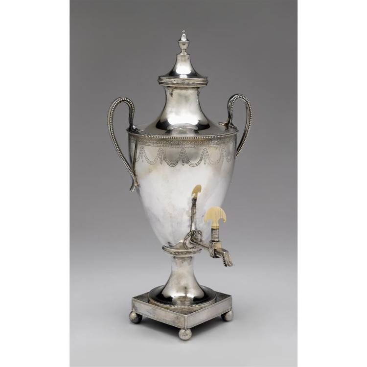 A George III silver hot water urn, Charles Wright, London, 1780-81