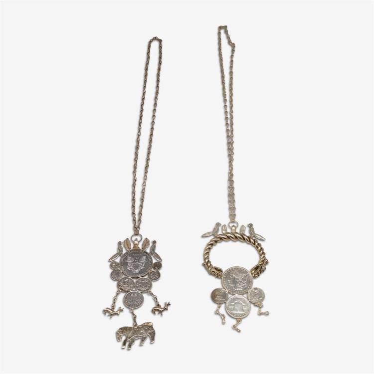 Two pieces of American silver coin jewelry, 20th century