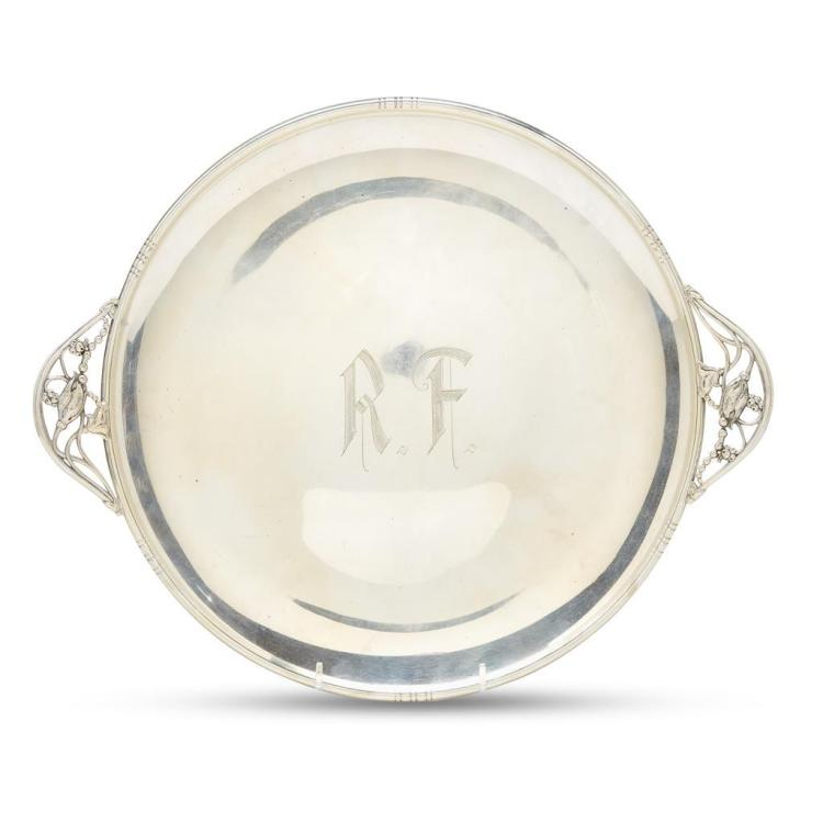 A sterling silver hostess tray, unknown maker, American, mid 20th century