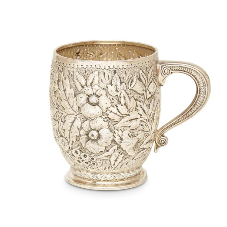 An American sterling silver repoussé cup, Tiffany & Co., New York, NY, circa 1873-1891