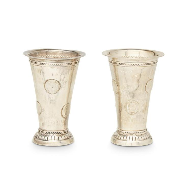 A pair of Victorian silver coin-mounted trumpet beakers, various marks, possibly Chester, 1901