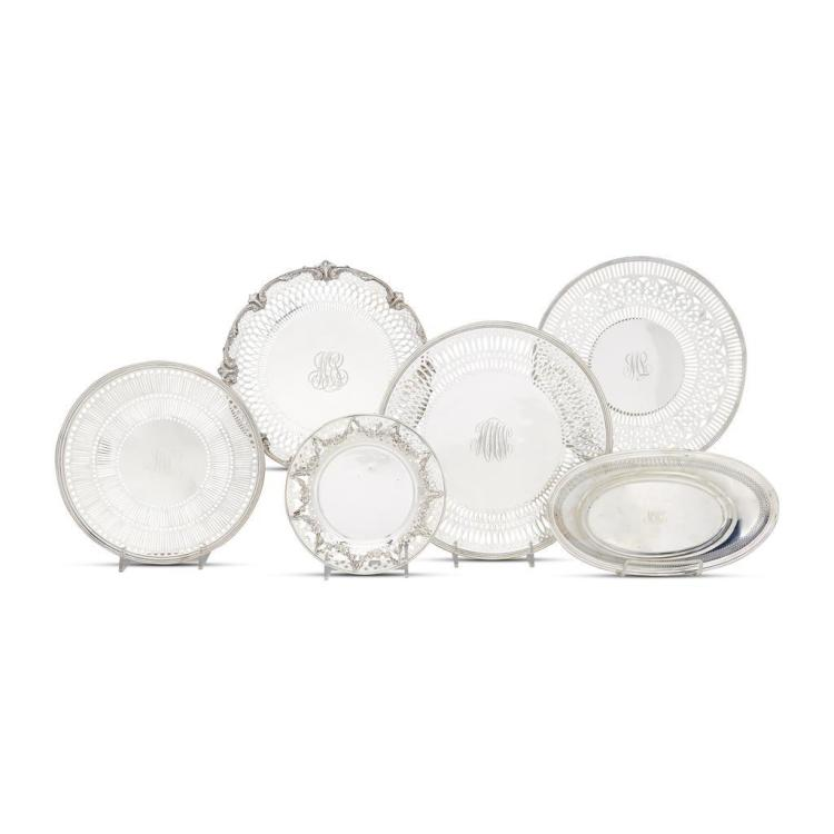 A group of six American sterling silver reticulated serving dishes, various makers, 20th century