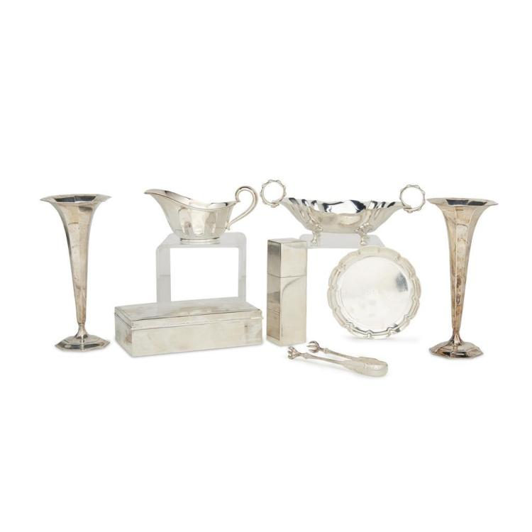 A group of eight pieces of American sterling silver hollowware, Tiffany & Co., New York, NY, various dates, 20th century
