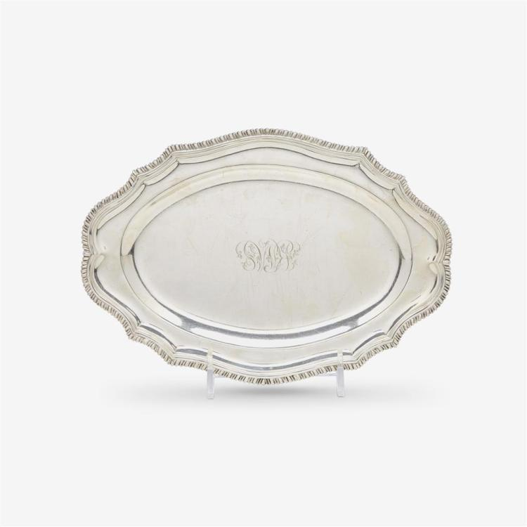 A small sterling silver serving tray, London, England, retailed by Crichton Bros., London and New York