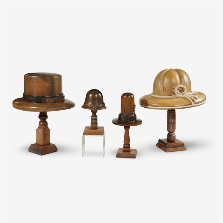 A group of four English hat molds, late 19th/early 20th century