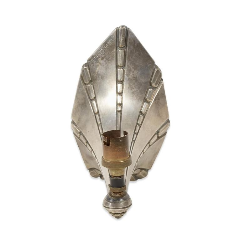 An Art Deco silvered bronze sconce, signed Albert Cheuret, early 20th century