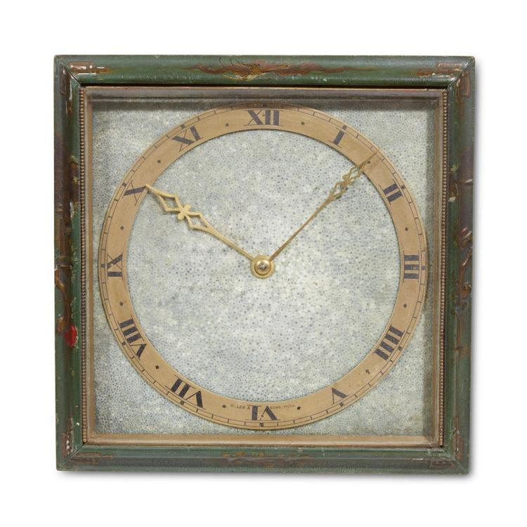 An English Art Deco shagreen and brass clock, H. Lee & Sons, Hull, England, circa 1920