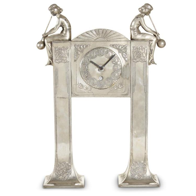 An Austrian Jugendstil silver-plated tin mantel clock, Moritz Hacker, early 20th century