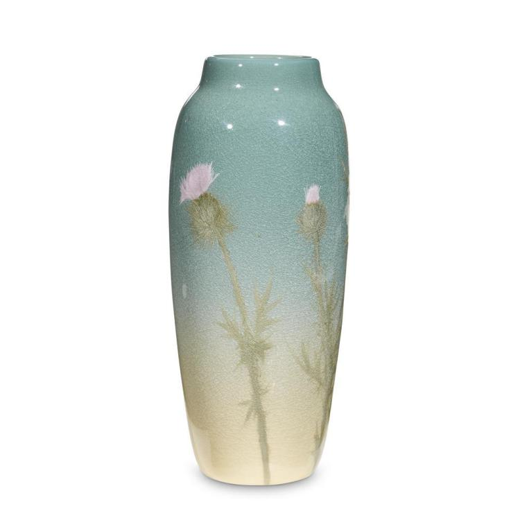A Rookwood vase with thistles, signed Anna M. Valentien, 1902