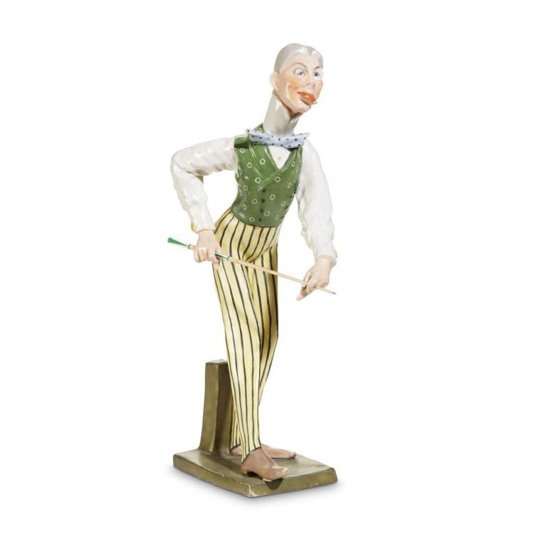 An Amphora earthenware sculpture of a gentleman with billiard cue, Austria, 1900-1901