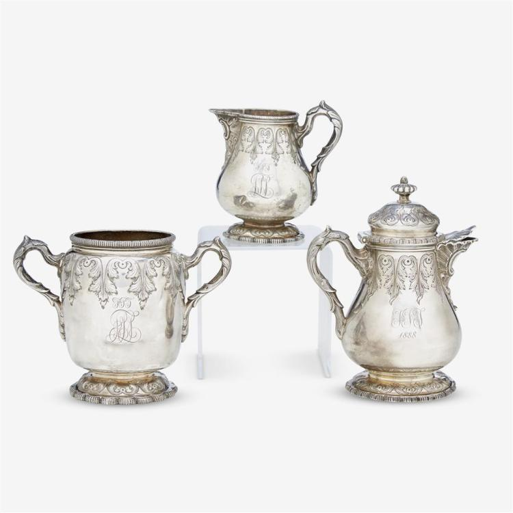 An American sterling silver part tea service, Gorham Mfg. Co., retailed by T. Kirk Patrick, circa 1885