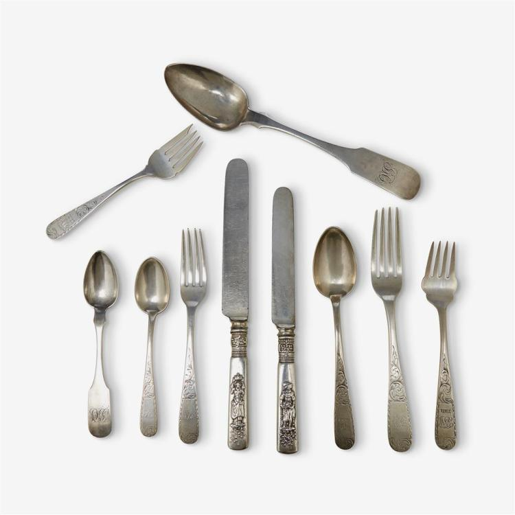 An English and American assembled sterling and coin silver flatware set, various makers, various dates