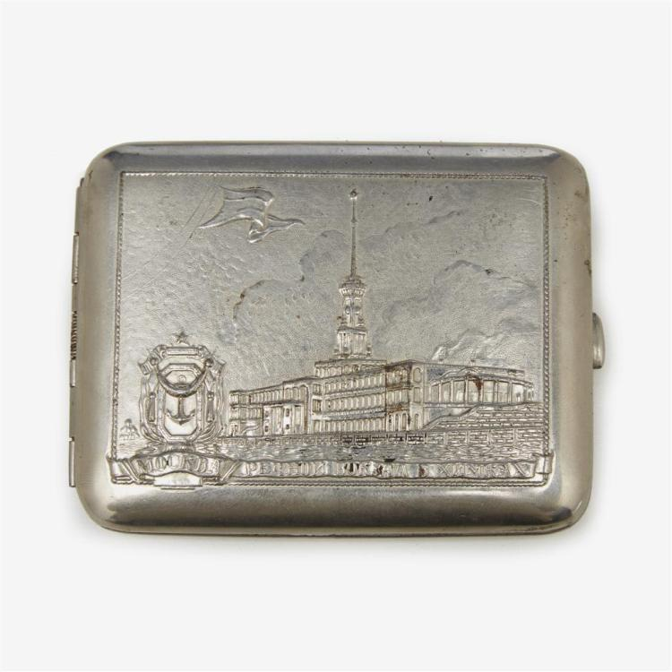 A Soviet white metal cigarette case, second quarter 20th century
