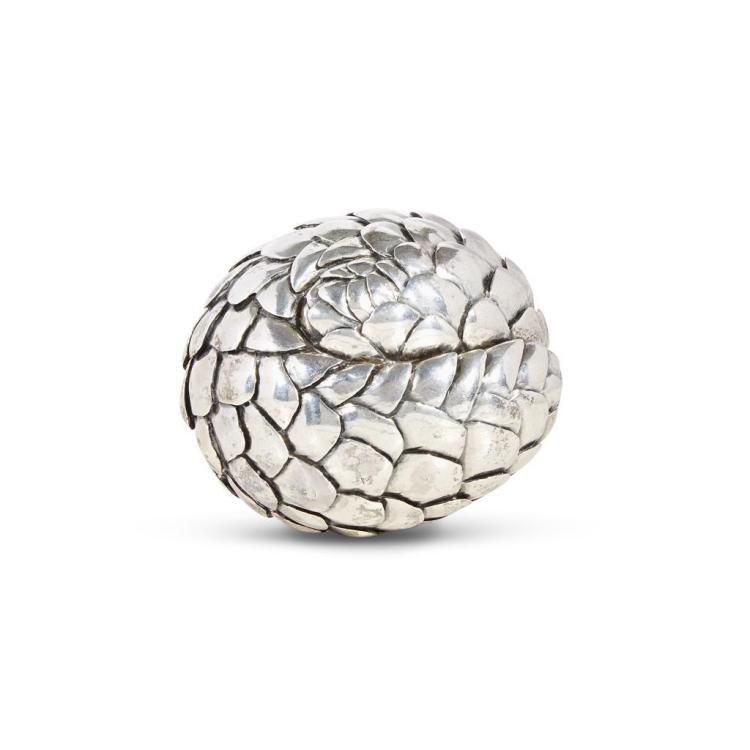 An African sterling silver sculpture in the form of a rolled pangolin, Patrick Mavros, 21st century