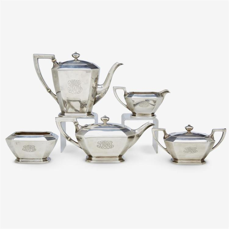 An American sterling silver five-piece tea and coffee service, William B. Durgin Co., retailed by Black, Starr & Frost, 1880-1905