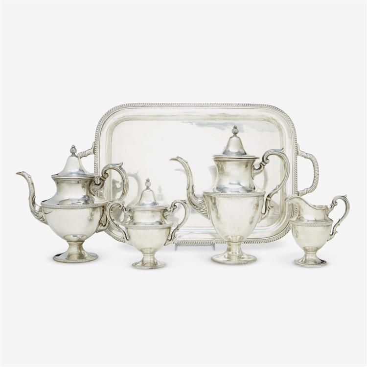 An American sterling silver five-piece tea and coffee service, Fisher Silversmiths Inc., Jersey City, NJ, 20th century