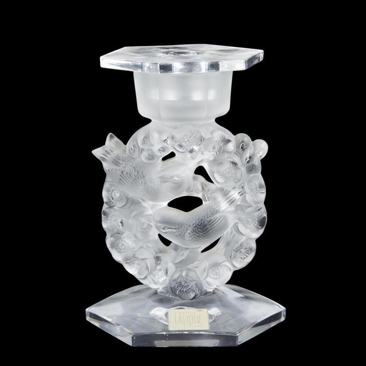 A Lalique ''Mesange'' candlestick, France, 20th century