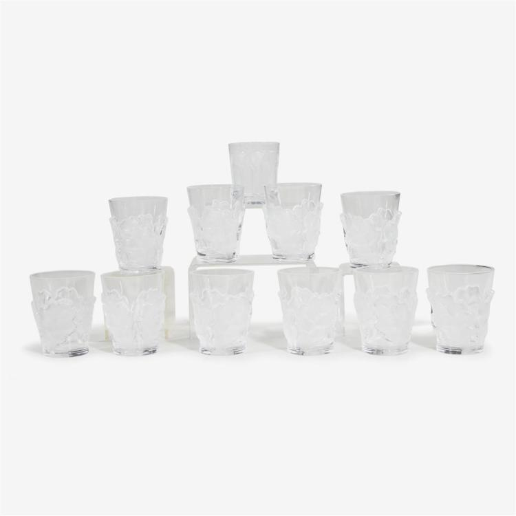 A set of ten Lalique ''Chêne'' tumblers, France, 20th century