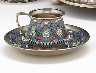 Russian cloisonné enamel silver-gilt tea cup and saucer, assay master vasily alexandrovich petrov, 1885, moscow, maker's mark unidenti