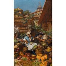 RICCARDO PELLIGRINI, (ITALIAN 1863-1934), THE VEGETABLE SELLER