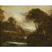 ATTRIBUTED TO GEORGE BARRET, (BRITISH C. 1728-1784), AUTUMN LANDSCAPE WITH STREAM