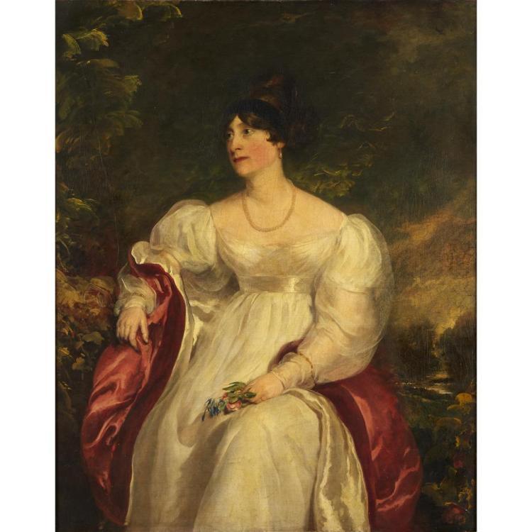 CIRCLE OF SIR THOMAS LAWRENCE, (BRITISH 1646-1723), PORTRAIT OF A LADY, THREE-QUARTER LENGTH, SAID TO BE MRS. RAMSBOTTOM
