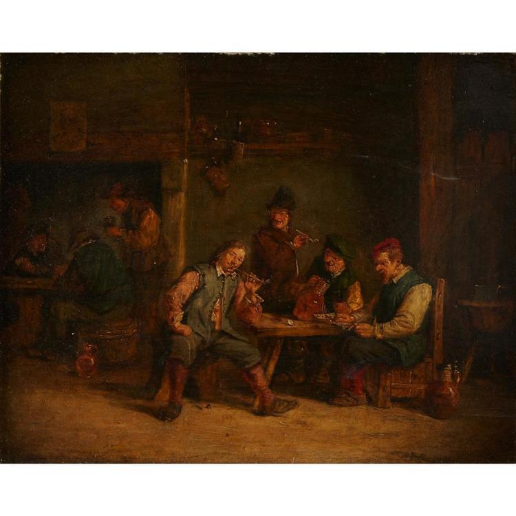 DUTCH SCHOOL, (17TH CENTURY), PEASANTS SMOKING IN A TAVERN