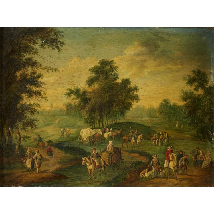 DUTCH OR FLEMISH SCHOOL, (18TH CENTURY), EXTENSIVE VILLAGE LANDSCAPE WITH FIGURES