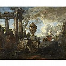 MANNER OF GIOVANNI PAOLO PANINI, (ITALIAN 1692-1765), CAPRICCIO WITH RUINS AND FIGURES