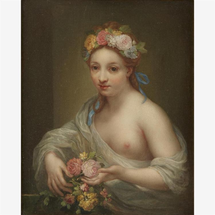CONTINENTAL SCHOOL, (PROBABLY 19TH CENTURY), YOUNG WOMAN AS FLORA