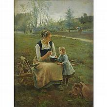 LUIS JIMENEZ Y ARANDA, (SPANISH 1845-1928)MOTHER AND CHILD IN THE FIELDS